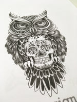 original owl and skull tattoo in black and grey style in instant download