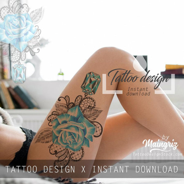 Indigo stone with realistic rose tattoo design high resolution download