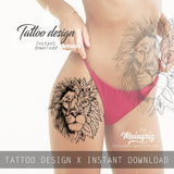 Mandala lion tattoo design high resolution download