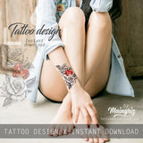 Precious stone with sexy rose tattoo design high resolution download