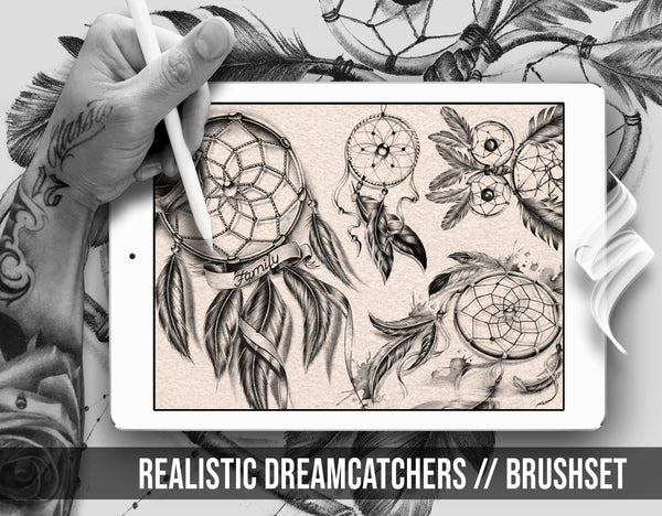 Originals realistic dreamcatchers tattoo stamps and brushes for procreate app Ipad by Brushestock