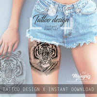 4 x Realistic tiger tattoo design high resolution download