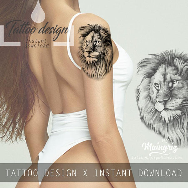 4 x Realistic lion tattoo design high resolution download