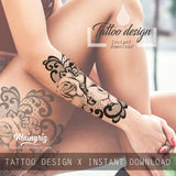 sexy lace and rose forearm or leg tattoo idea