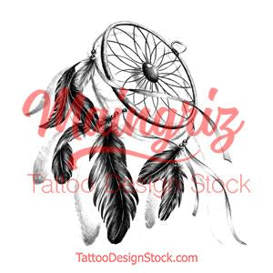 Realistic dreamcatcher with rubbon tattoo design high resolution download