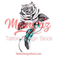 Realistic rose and precious stone with feather tattoo design high resolution download