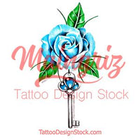 Realistic rose with precious stone and key tattoo design high resolution download