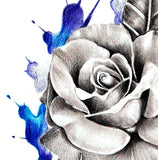 Realistic rose and saphir  tattoo design high resolution download