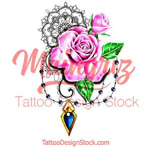 Saphir and sexy rose tattoo design high resolution download