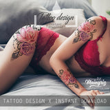 Realistic sexy rose with precious stone  tattoo design high resolution download