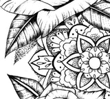 Rose mandala linework tattoo design high resolution download