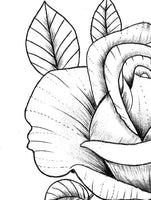 Rose with bird linework tattoo design high resolution download
