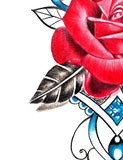 Realistic rose and precious stone tattoo design high resolution download