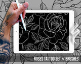 Rose and Whip Tattoo Set 2 Brushses Pack for Procreate application
