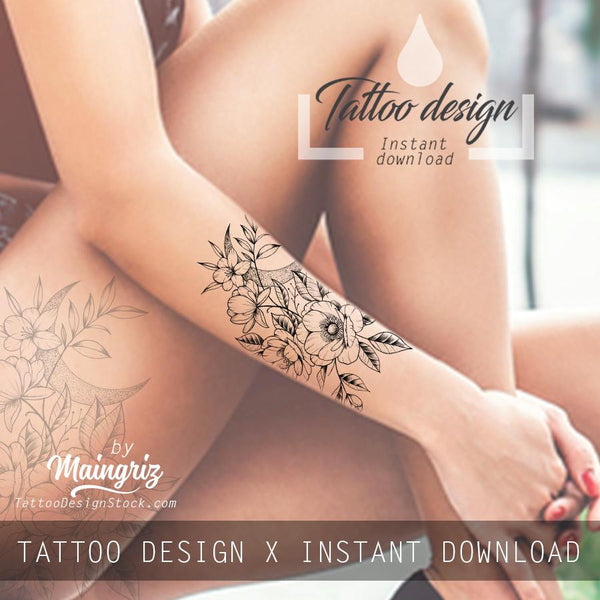 Sexy hibiscus linework tattoo design high resolution download