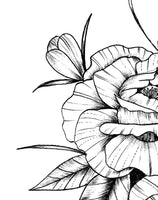 Sexy linework peony half sleeve high resolution download