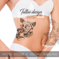 Sexy realistic rose with diamond tattoo design high resolution download