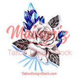 Sexy realistic rose with prism stone tattoo design high resolution download