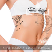 Sexy rose realistic with precious stone tattoo design high resolution download