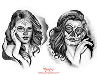 amazing catrina chicano sleeve tattoo design high resolution download