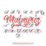 chicano alphabet lower case for sleeve tattoo design