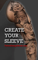 create your own sleeve tattoo design with this digital tattoo pack