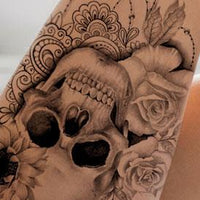 original sexy skull tattoo with lace flowers and pearls in instant download
