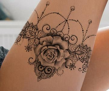 Sexy lace garter with rose tattoo design