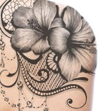 Hibiscus with lace and pearl tattoo design high resolution download