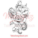 Rose linework - download tattoo design #3
