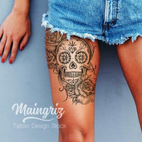 original sexy mexican skull tattoo with lace flowers and pearls in instant download