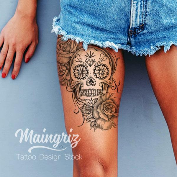Mexican skull and roses tattoo design digital download by tattoo artists