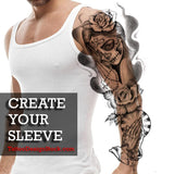 best original religious sleeve tattoo with hands praying and catrina and roses chicano style