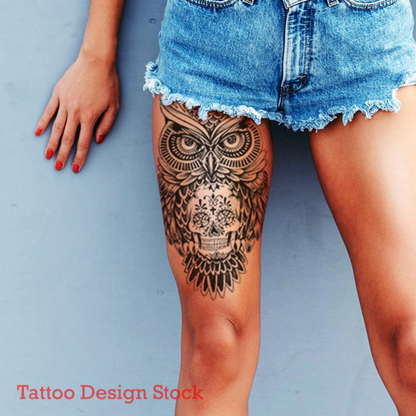 owl and sugar skull tattoo design digital download