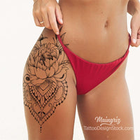 peony mandala leg tattoo design created by tattoo artist