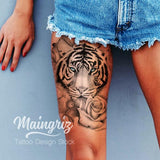 Tiger Key and Rose - tattoo design download