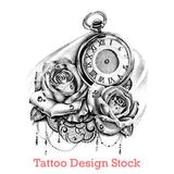 clock and roses with lace tattoo design