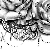 roses and lace tattoo design for sleeve tattoo