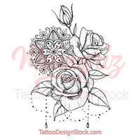 Rose and pearls mandala tattoo design references