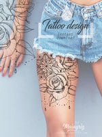 Roses and pearls mandala tattoo design references