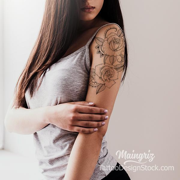 Sexy half sleeve rose linework tattoo design high resolution download