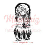 sexy wolf and moon design references digital download created by tattoo artist