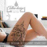 amazing sexy lace garter tattoos with rose and mandala for girls in instant download