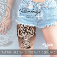 Realistic tiger and compass tatoo design high resolution download