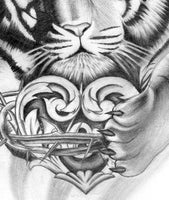 Realistic tiger with heart tattoo design high resolution download