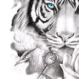 realistic tiger with key and rose tattoo design references