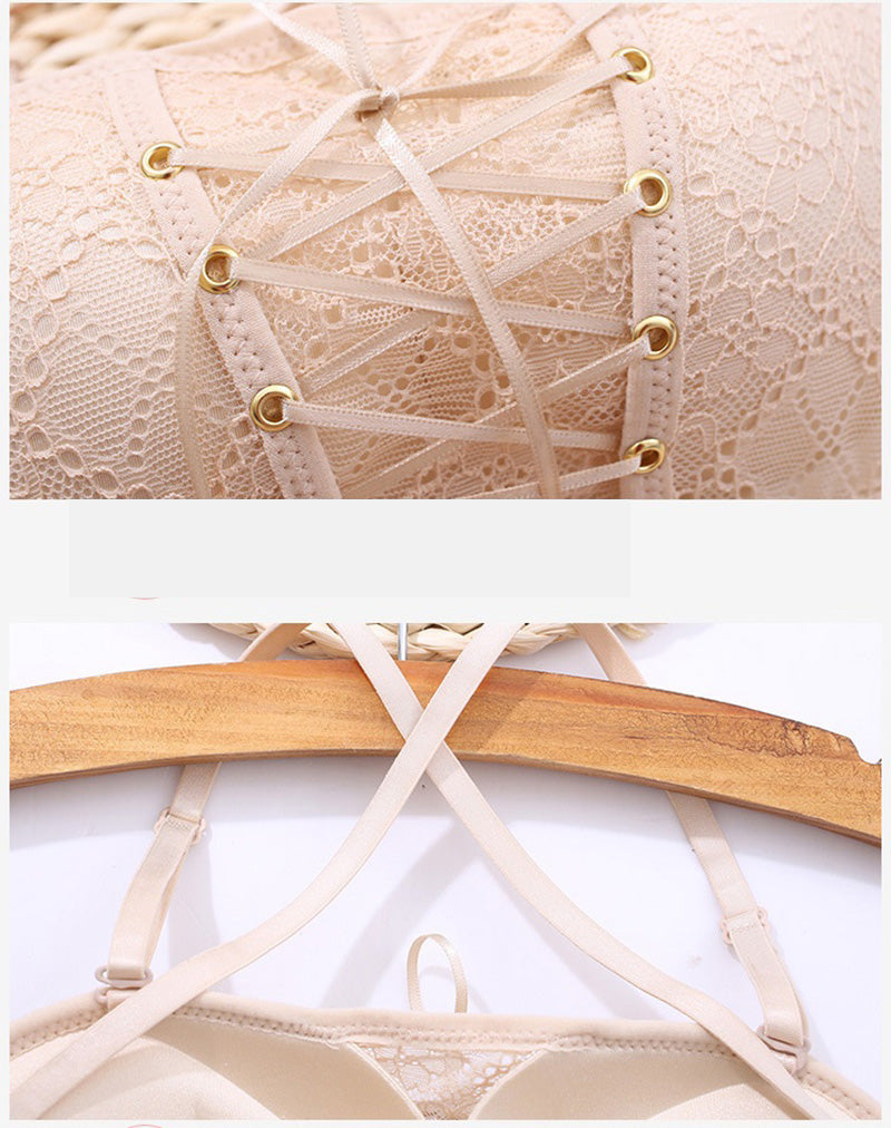 Drawstring Lace Push Up Strapless Bra