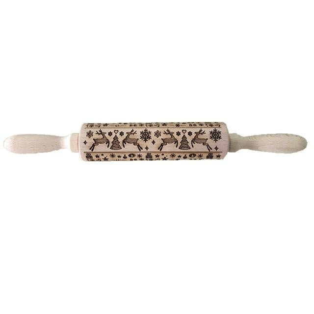 Christmas 3D Embossed Wooden Rolling Pin
