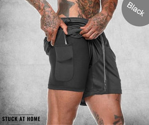 Mens 3 in 1 Secure Phone Protector Pocket Running Shorts