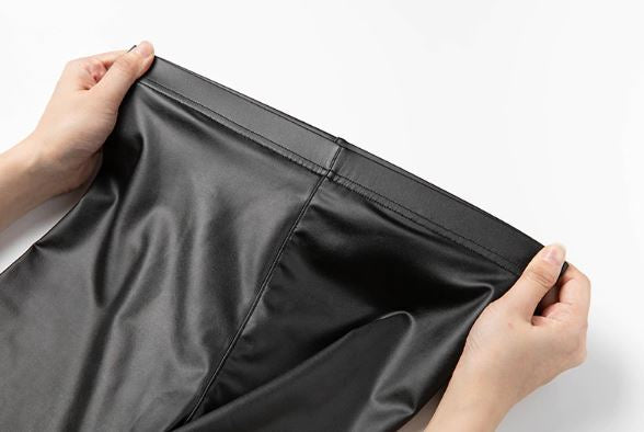 Black Faux Leather Winter High Waisted Leggings (Plus Size Available)